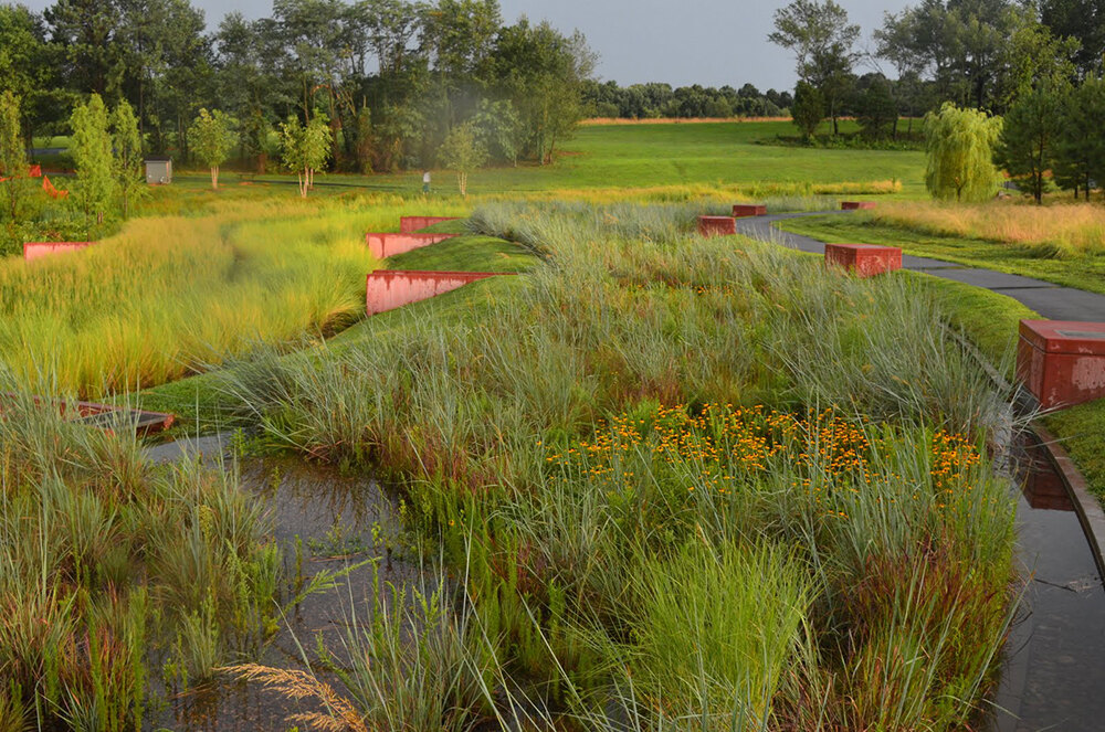 North carolina museum of art west building expansion for Stormwater pond design